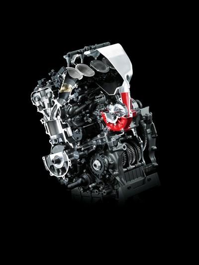 Motor con sobrealimentador resaltado